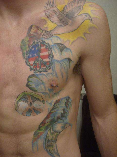 Horrible Hippie Tattoo For Boys