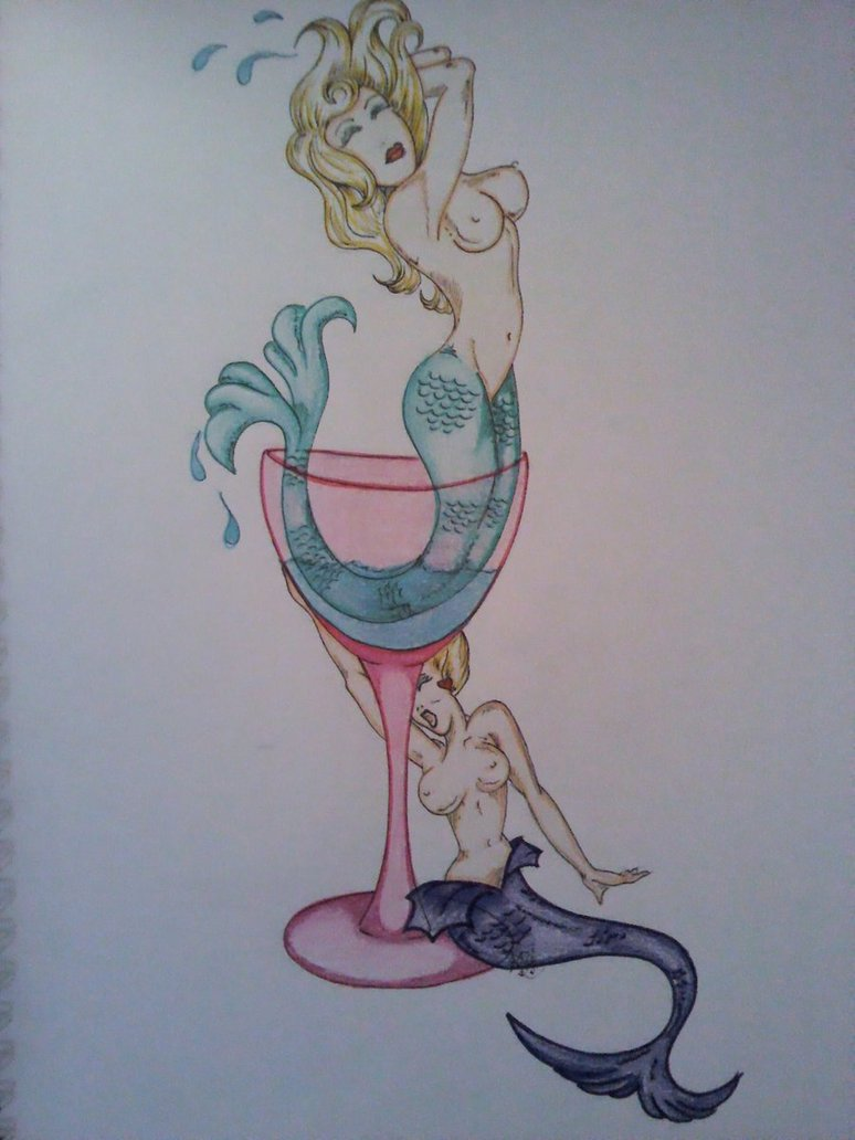 Horrible Mermaid Martini Glass Tattoo Design For Boys