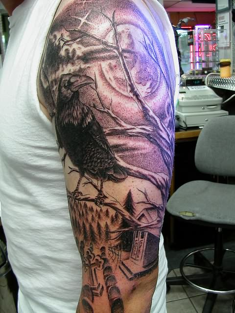 Horrible Raven Graveyard Tattoo On Sleeve For Boys