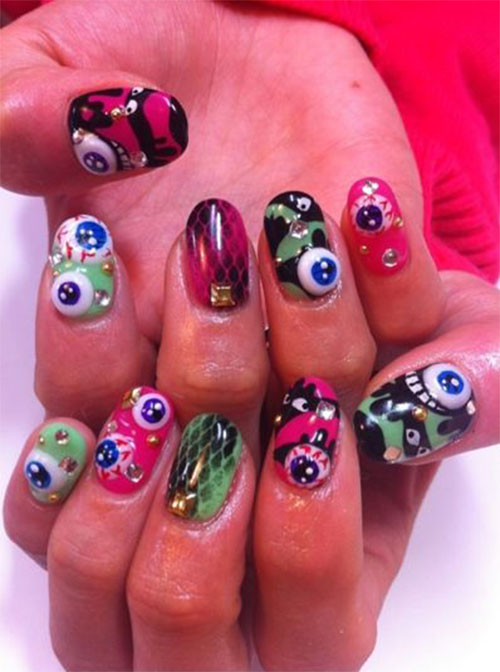 Horror 3D Eye With Different Design 3D Nail Art