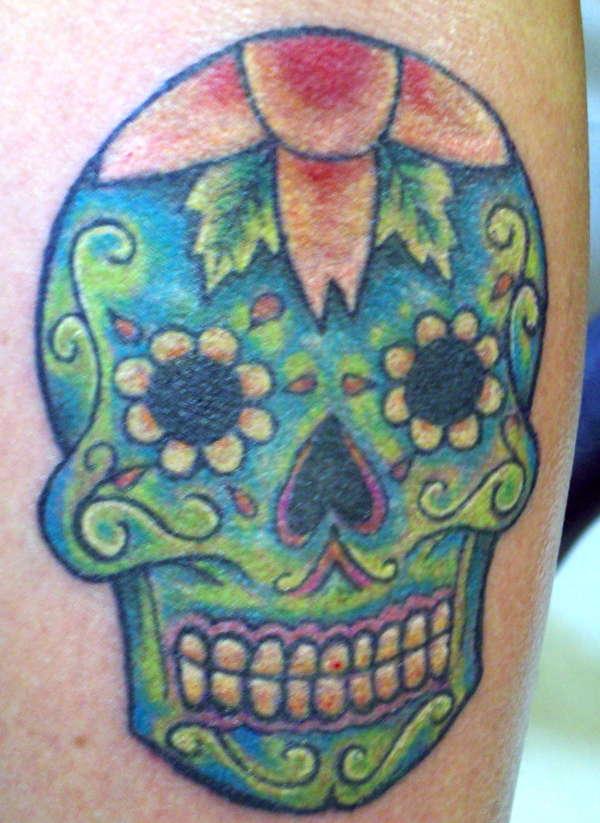 Impressive Day Of The Dead Skull Tattoo For Girls