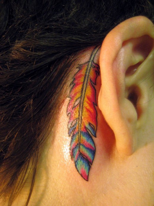 Impressive Feather Tattoo Below Ear For Girls