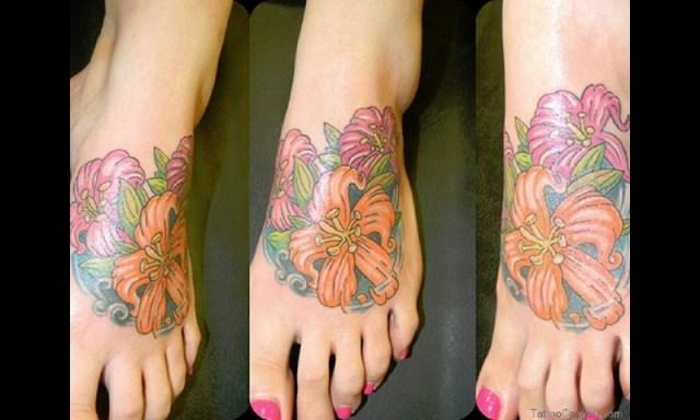 Impressive Foot Hibiscus Tattoo Design For Girls