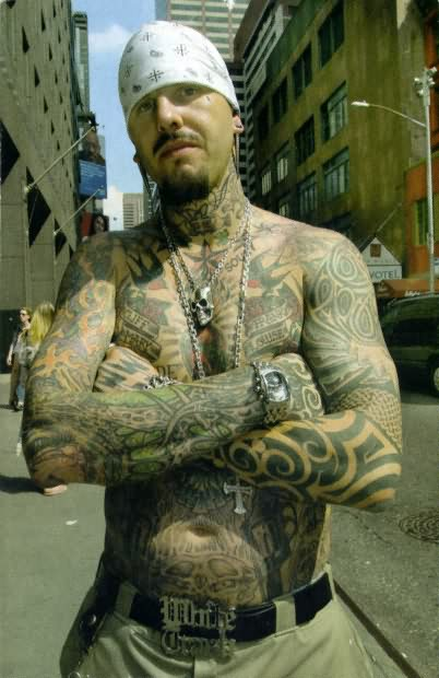 Impressive Gangster Full Body Tattoo Design For Boys