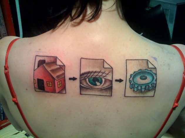 Impressive Geek Tattoo On Upper Back For Girls