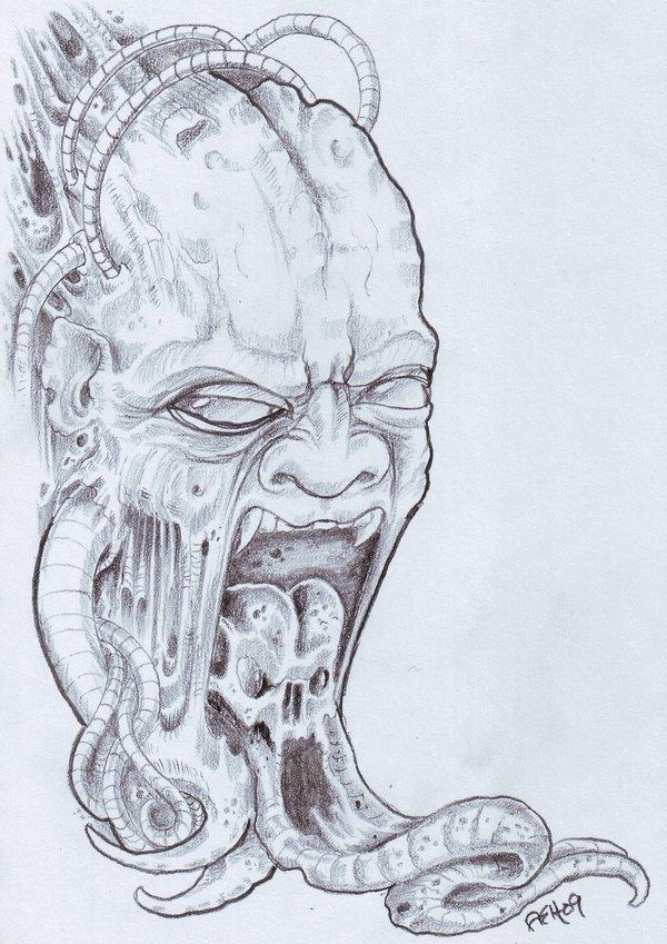 Incredible Biomech Demon Horror Tattoo Design For Boys