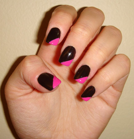 Incredible Black And Pink Nails With Pink Color Tip