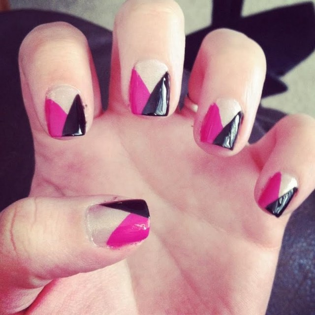 Incredible Black And Pink Nails With V Shape And Naked Nail Design