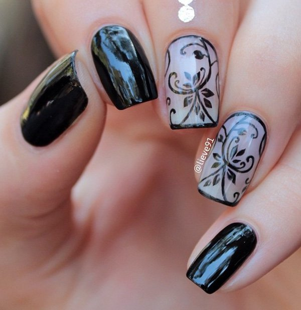 Incredible Black Nail Art Design With Grey Color And Black Color Flower