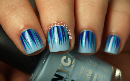 Incredible Blue Nail Art With Shading Design