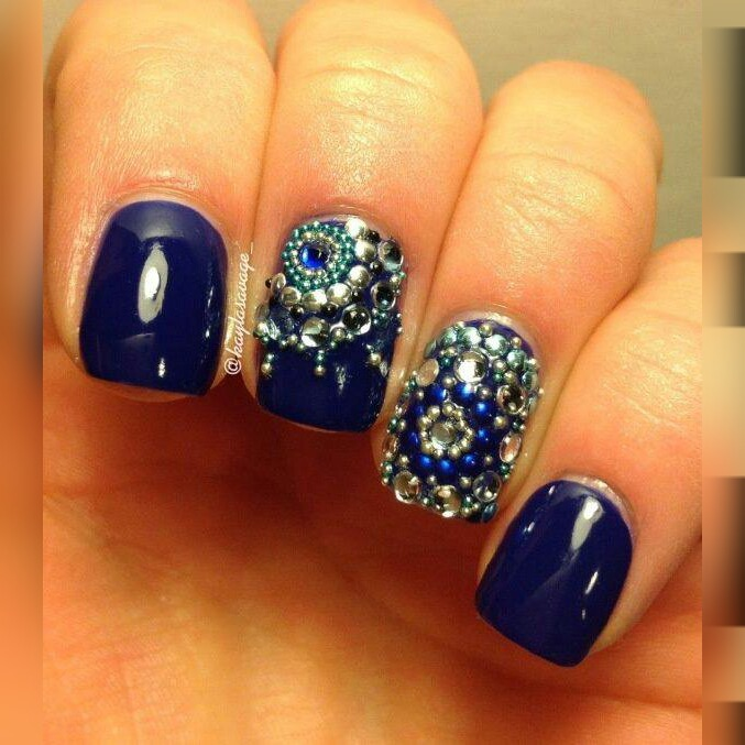 Incredible Blue Nails With Silver Color Crystal