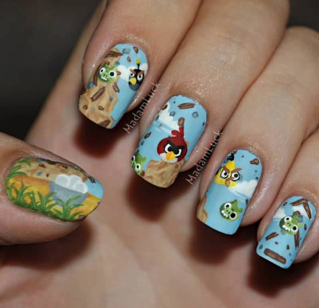 Incredible Colorful Design Angry Bird Nail Art Design