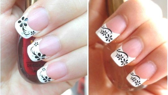 Incredible Flower Black And White Nail Art