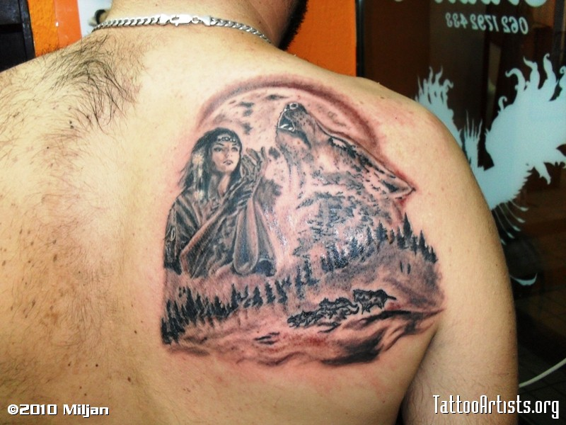 Incredible Indian Girl Wolf Tattoo Shoulder For Boys