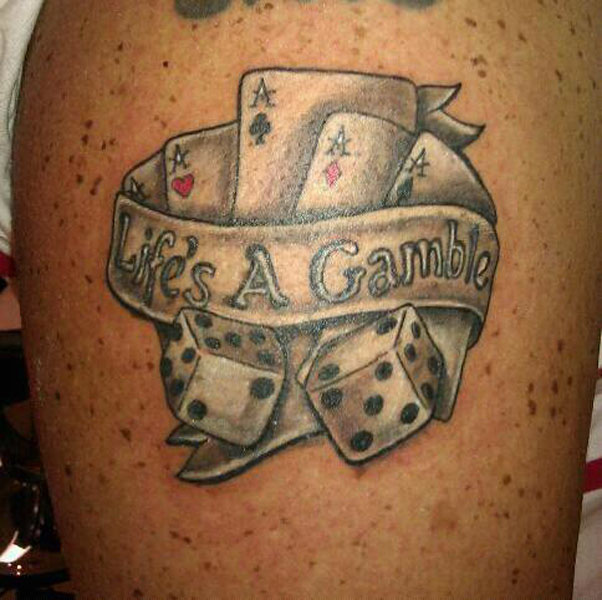 Incredible Life's A Gamble Dice n Cards Tattoo Design For Girls