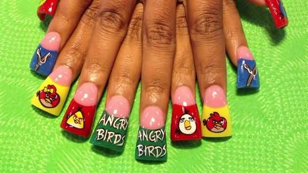 Incredible Nail With Angry Bird Nail Art Design