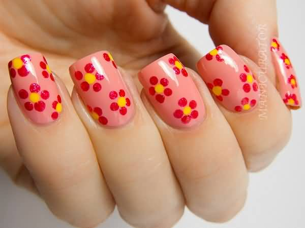 Incredible Red Flower With Pink Paint Accent Nail Art