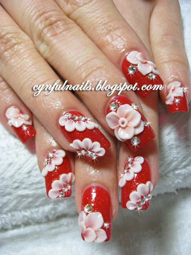 Incredible rose with red 3d acrylic nail art picsmine incredible rose with red 3d acrylic nail art prinsesfo Choice Image