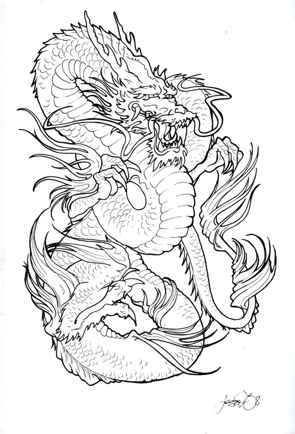 Innovative Angry Dragon Tattoo Sample For Girls