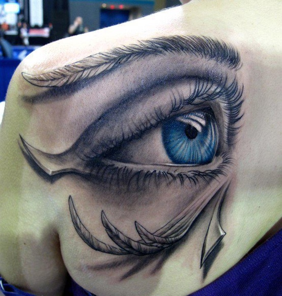 Innovative Big Eye Tattoo On Back Shoulder For Girls
