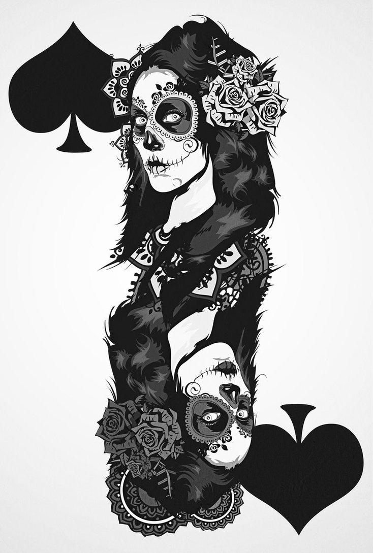 Innovative Dia De Los Muertos Gambling Tattoo Design For Boys