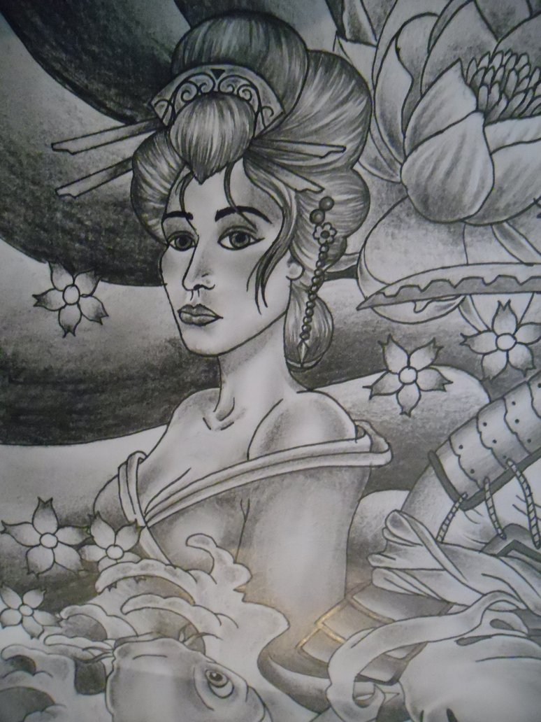Innovative Geisha Tattoo Design For Girls