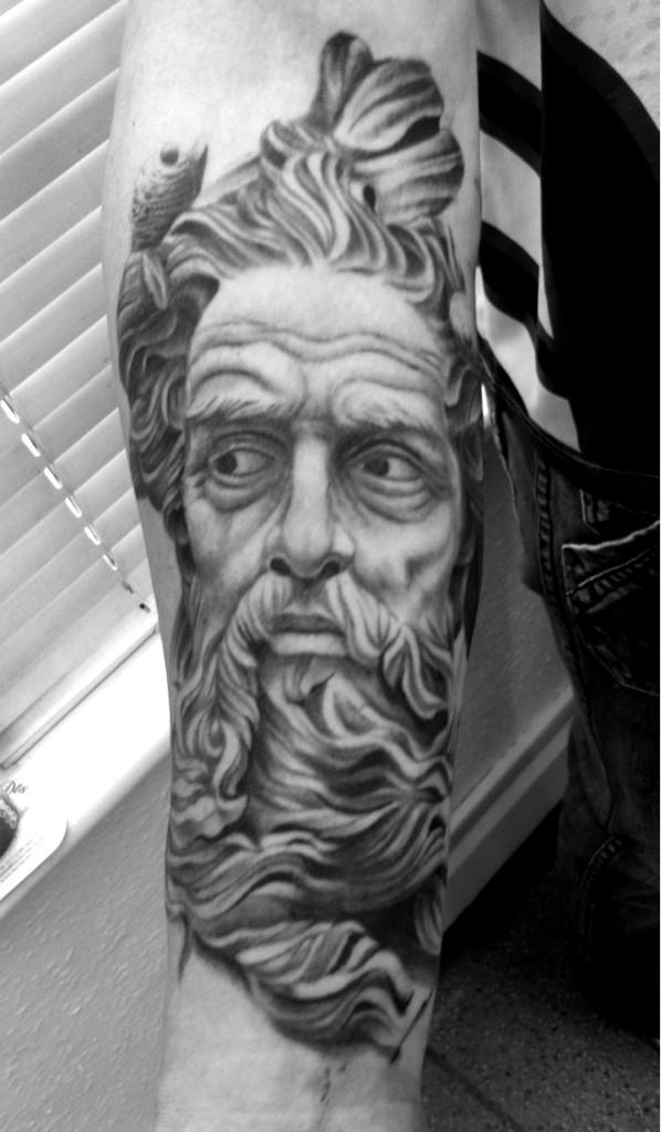 Innovative Greek God Tattoo On Forearm For Boys