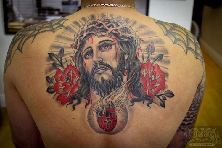 Innovative Jesse Christ Heart Tattoo On Upper Back For Boys