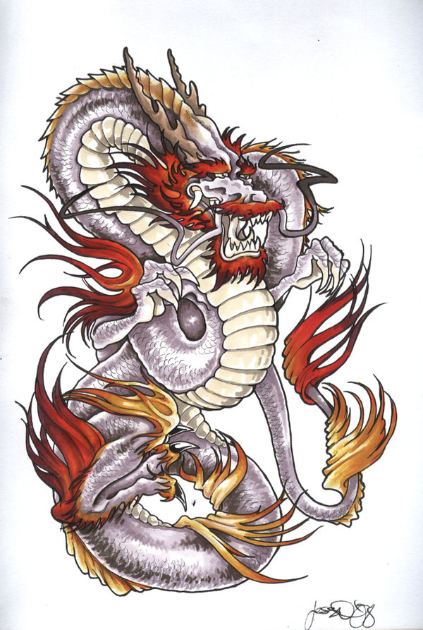 Inspirational Dragon Tattoo On White Background For Boys