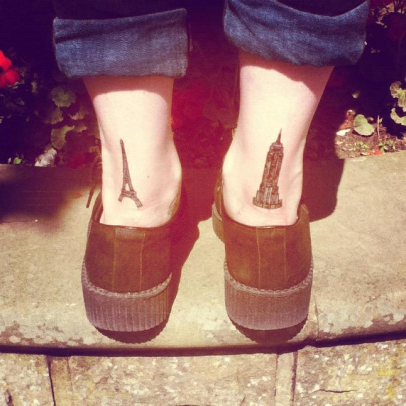 Inspirational Eiffel Tower Tattoo On Back Heel For Boys