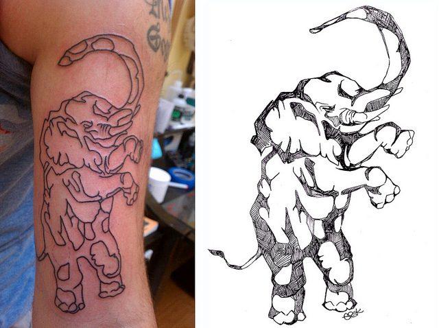 Inspirational Elephant Outline Tattoo Design For Boys