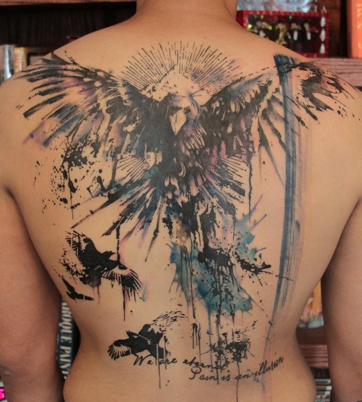 Inspirational Watercolor Fantasy Eagle Tattoo On Back Body For Boys