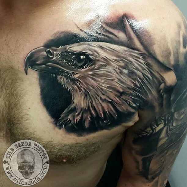 Inspiring Eagle Face Tattoo On Chest For Boys