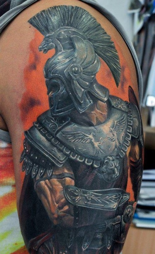 Inspiring Greek Warrior With Helmet Portrait Tattoo On Sleeve For Boys