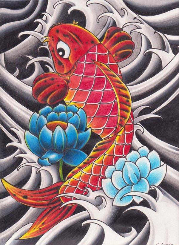 Inspirational Lotus n Fish Tattoo Design For Girls