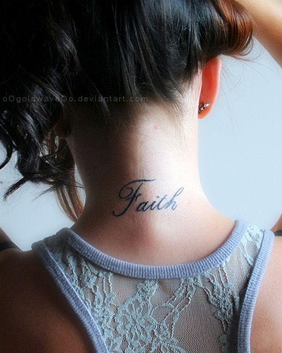 Latest Faith Words Tattoo On Nape For Girls