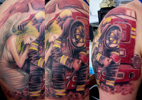 Latest Firefighter In Brazil Tattoo Design For Girls