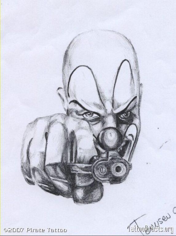 Latest Gangsta Clown Tattoo Drawing For Boys