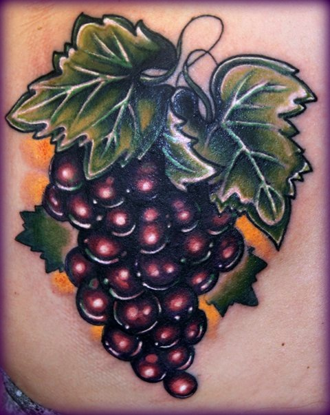 Latest Grapes Tattoo Design For Girls