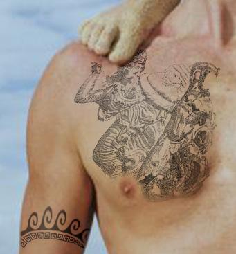 Latest Greek Mythology Tattoo On Chest For Boys