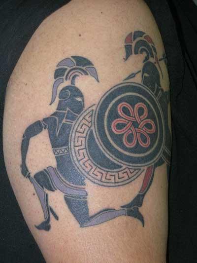 Latest Greek Warrior Tattoo On Biceps For Boys