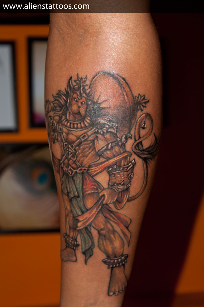 Latest Lord Hanuman Tattoo On Arm For Boys