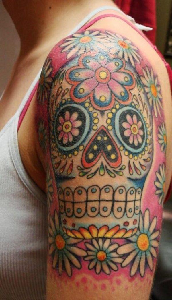 Latest Sugar Skull Dia De Los Muertos Tattoo On Shoulder For Girls