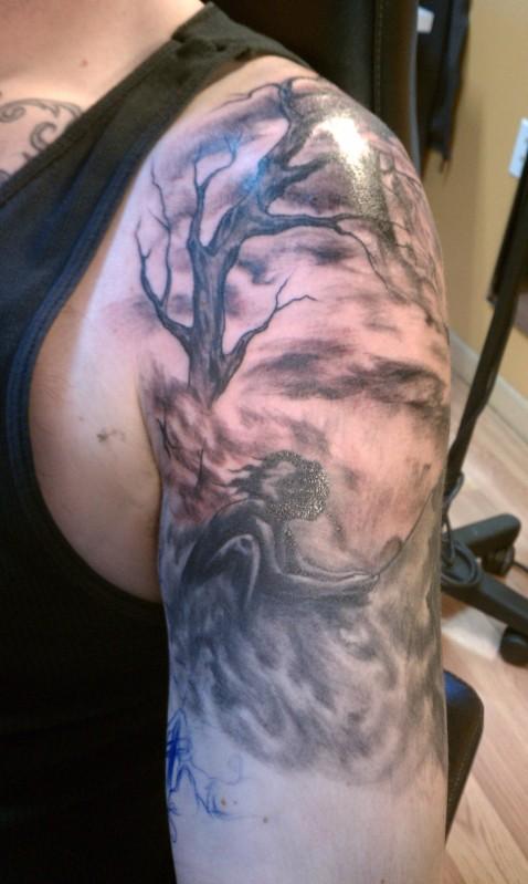 Latest Tree Half Sleeve Tattoo Design For Boys