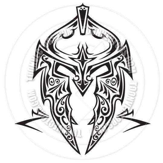 Latest Tribal Helmet Tattoo Design For Boys