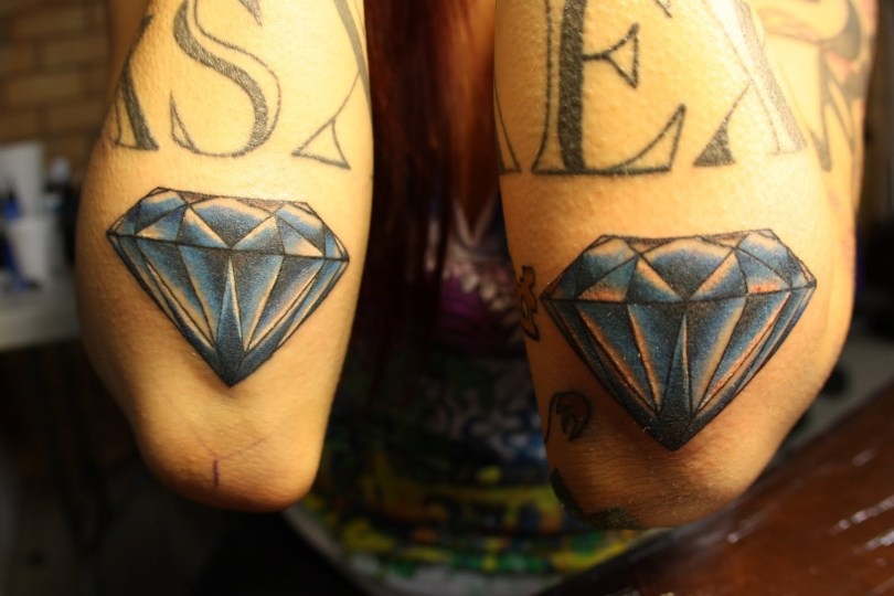 Latest Twin Diamond Tattoo Designs For Girls