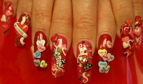 Love Messages Design 3D Nail Art