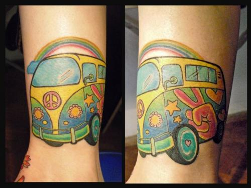 Lovely Hippie Volkswagen Tattoo Design For Boys
