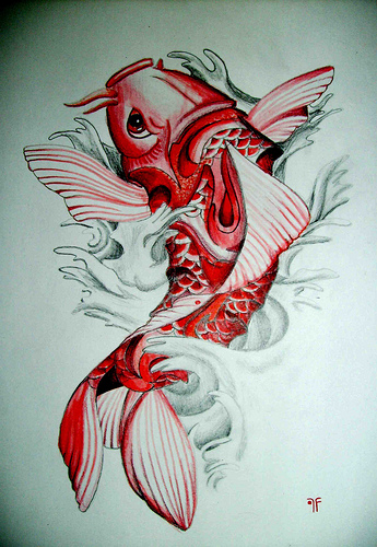 Lovely Red Koi Fish Tattoo Sample For Girls