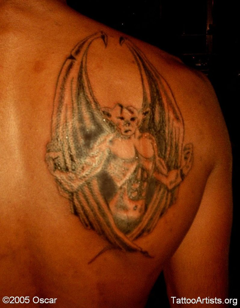 Lovely Strong Gargoyle Tattoo On Shoulder For Boys